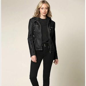 Vegan leather moto jacket. Detachable hood.